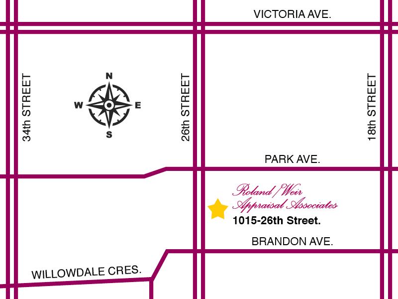 Map showing location of Roland Weir Appraisal Associates at 1015-26th Street, Brandon